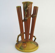 Vintage Roseville Pottery Pine Cone Brown Triple Bud Vase In Excellent Condition