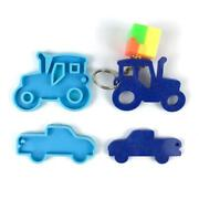 Car Series Keychain Epoxy Resin Mold Shiny Pendant Glossy Tractor Silicone Mould