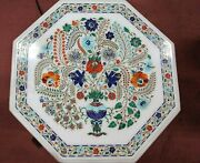 36 Inches Dining Table Top Inlaid With Flower Pot Design Marble Meeting Table