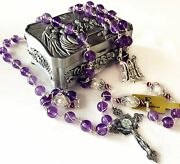 Sterling Silver Wire Wrapped Amethyst And Pearl Beads Catholic Rosary Necklace Box