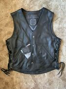 Harley Davidson Menandrsquos Rare Custom Collection Leather Vest Large- 1 Of 150 Tribal
