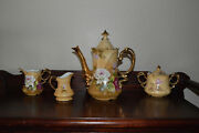 Vintage Lefton Heritage Brown Floral Hand-painted China Coffee Set, Including
