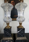 Magnificent Pair Of Crystal Lamps By Paul Hanson, Urn Body's Baccarat Style