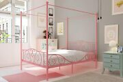 Twin Full Size Metal Canopy Bed With Sturdy Bed Frame Pink And White Headboard