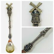 Ornate Vintage Silver Plate Olive/capers Spoon – Windmill, Made In Holland