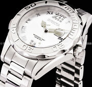 Women Pro Diver Crystal Accented Silver Dial Bracelet 38mm Ss Watch