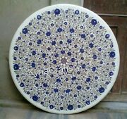 40 Inches Marble Dining Table Top With Lapis Lazuli Inlaid Sofa Table For Home