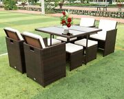 9 Pieces Patio Dining Sets Outdoor Space Saving Rattan Chairs With Glass Table