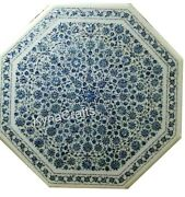 40 Inches Marble Patio Table Top With Mother Of Pearl Inlay Work Dining Table