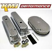 Sbc Chevy 5.7l Full Finned Retro Vortec Aluminum Valve Covers And 15 Air Cleaner