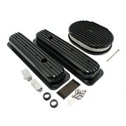 Small Block 350 Vortec Chevy Black Full Fin Short Valve Covers 12 Air Cleaner