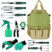 All In One 10 Pc Garden Tool Set With Organizer Tote Bag
