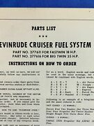1958 Evinrude Cruiser Fuel System Factory Parts List Part 277611 And 277616