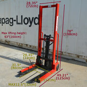 Hand Pump Lift Trucks Manual Forklifts Pallet Stackers Max Fork 63 Lift Height
