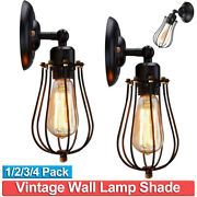 Retro Vintage Wire Cage Wall Sconce Industrial Chandelier Lamp Home Porch Decor
