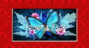 Butterfly Insect Flower Bug Wing Art Blue Painting Vinyl Checkbook Cover