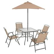 Outdoor Dining Umbrella Set Patio Backyard With Table 4 Chairs Furniture