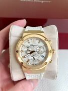 Salvatore Ferragamo Mother Of Pearl Gold Ion Plated Stainless Steel F-80 Womenand039s