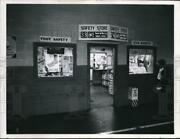 1954 Press Photo Safety Store Front Display With Eye And Foot Protective Gear