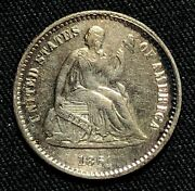 1861 Silver Seated Liberty Half Dime Philadelphia Mint Xf Condition Cleaned
