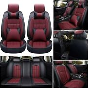 Deluxe Leather Full 5d Surround Car Seat Cover Cushion Set For 5 Seat Car Truck