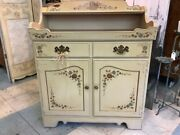Ethan Allen Vintage Dry Sink Bar Painted Cream Gold Buffet Serving Formica Top
