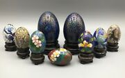 A Collection Of Vintage Chinese Cloisonne Miniature Eggs With Wooden Stands