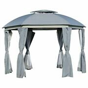 12' X 12' Round Outdoor Patio Gazebo Canopy With 2-tier Roof, Netting Sidewalls