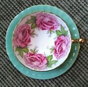 Vintage Green Aynsley Orban Four Pink Cabbage Roses England Teacup And Saucer