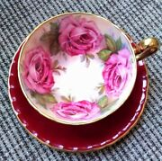 Vintage Red Aynsley Orban Four Pink Cabbage Roses England Teacup And Saucer