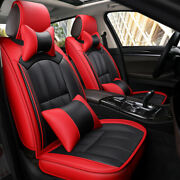 Full Set Red 5 Seats Car Seat Covers Deluxe Pu Leather W/ Pillow Auto Interior