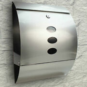 Wall Mount Lockable Stainless Steel Mailbox Letter Box Newspaper Storage Silver