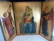 Vtg Religious Triptych Wood Russian Orthodox Mother Child Icon Greece Or Italy