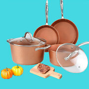 6 Piece Hammered Copper Nonstick Pots And Pans Set Induction Kitchen Cookware Sets