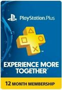 Playstation Ps Plus Psn 12 Month 1 Year Membership Subscription Card Usa Ps4