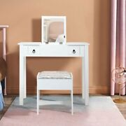 Flip-top Mirror Vanity Set Makeup Dressing Table With 2 Drawers And Stool