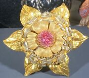 Miriam Haskell Signed Xl Golden Flower Glass Tube Faceted Pink Center Stone Pin