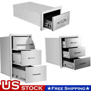 Stainless Steel Bbq Triple Single Door Drawer Access Outdoor Kitchen 14and039and039-30and039and039