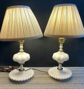 Set Of 2 Vintage White Milk Glass Table Lamps Candlewick Base Electric