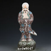 20.9 Chinese Old Antique Porcelain Qing Dynasty Famille Rose Dharma Statue