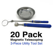 Bulk 20 Pack Of 3-piece Telescoping Magnetic Mirror Pickup Utility Tool Tray Set