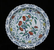 16.7 Antique Porcelain Ming Dynasty Xuande Famille Rose Persimmon Flower Plate