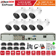 8 Channel 4k H.265+ Dvr With 8x 4mp Bullet Cctv Security Camera System 1tb Hdd