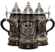 Le German Beer Stein With Pewter Eagle Relief Made In Germany One New Mug