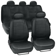Pu Leather Car Seat Covers Black Front Rear Headrest Cover - Full Interior Set