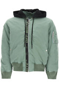 New Off-white Vintage Bomber Jacket With Logo Band Omeh028r21fab001 Green Black