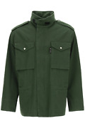 New Off-white Cotton Field Jacket Omel020s21fab001 Green Black Authentic Nwt