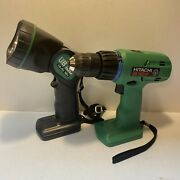 Hitachi Cordless Drill Driver Ds14dvf And Ub18d Work Lightbare Tools Only