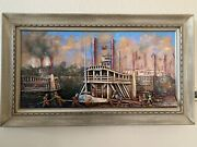 Antique American Southern Folk Art 3d Steamboat River Boat Oil Painting