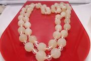 110 Years Old Hand Carved Celadon Jade Beads 13mm 46 L Floral Fruits Necklace